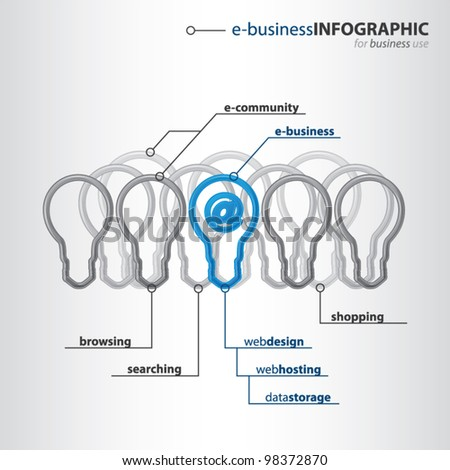 Modern organization of high-tech bulbs with one bulb with shiny blue �at� sign inside, e-business info graphic concept, vector illustration - stock vector