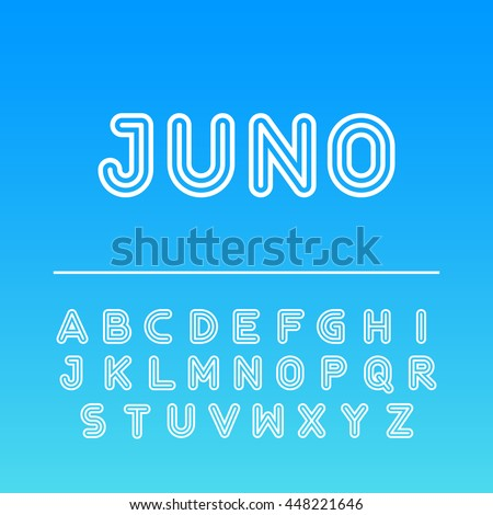 Modern outline font. Capital letters typeface. Vector typeset for headlines, labels, quotes, titles, posters or logotypes. Latin alphabet letters.
