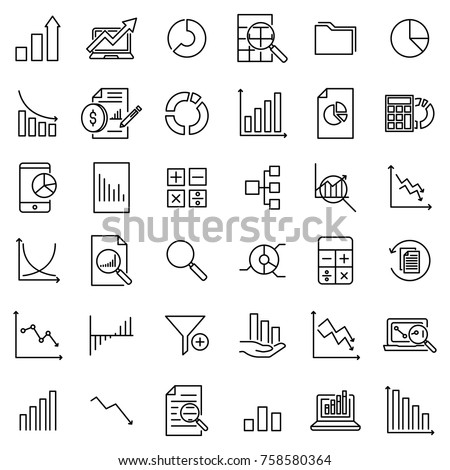 Modern outline style analytic icons collection. Premium quality symbols and sign web logo collection. Pack modern infographic logo and pictogram. Simple data pictograms on a white background.
