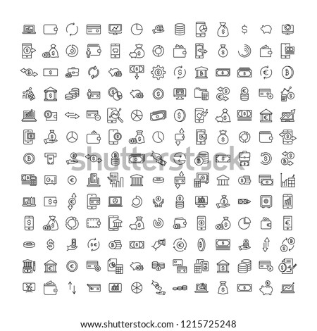 Modern outline style finance icons collection. Premium quality symbols and sign web logo collection. Pack modern infographic logo and pictogram. Simple money pictograms.