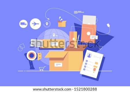 Modern package assembly vector illustration. Different boxes and various high quality products and commodities put together and ready for high-tech shipment