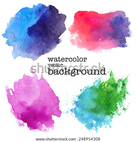 Shutterstock modern painting - set of abstract colorful (blue, pink, green) watercolor backgrounds on white canvas or paper - hand paint vector illustration