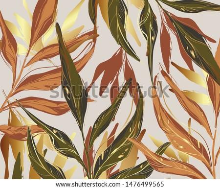 modern palm leaves  gold  green