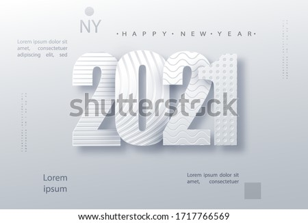 Modern paper art design template with 2021 for concept design. Holiday christmas background. 2021 new year holiday poster. Vector design template. Concept design. 2021 calendar - illustration.