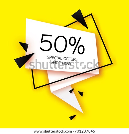 Modern paper cut geometric sale banner, special offer, 50 percents discount. Origami Trendy Label tag template. Shop now. Space for text. Yellow background. Vector