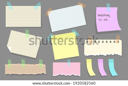 Modern paper notes on stickers flat illustration set. Cartoon torn paper sheets form notepad isolated vector illustration collection. Office notepapers and information board concept Stock photo ©