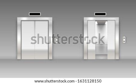 Modern passenger or cargo elevators, lifts with closed, opened and half closed. Illustration of lift door and elevator for office or hotel