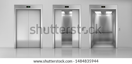 Modern passenger or cargo elevators, lifts with closed, opened and half closed, metallic cabins doors, floor indicators digits and glossy flooring in empty corridor 3d realistic vector illustration