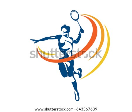 Modern Passionate Badminton Player In Action Logo - Aggressive Jumping Smash