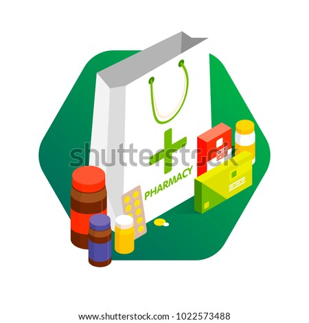 Modern pharmacy and drugstore concept. Sale and discount of vitamins and medications. Vector simple illustration. Set of pills and drugs.