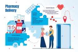 Modern Pharmacy Delivery, Medicines Online Shopping Service Trendy Flat Vector Ad Banner, Promo Banner or Infographics Template. Deliveryman or Courier Delivering Goods to Senior Woman Illustration
