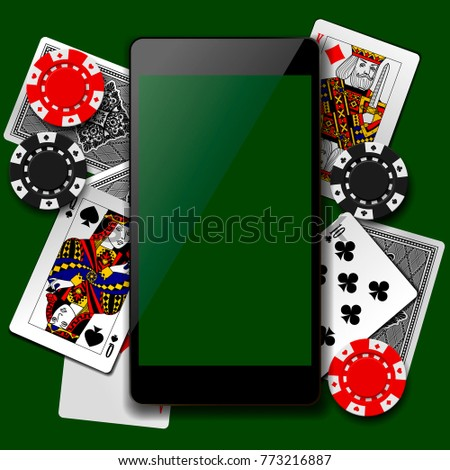 Modern phone on playing cards and casino chips background. Mobile casino game concept. Vector illustration