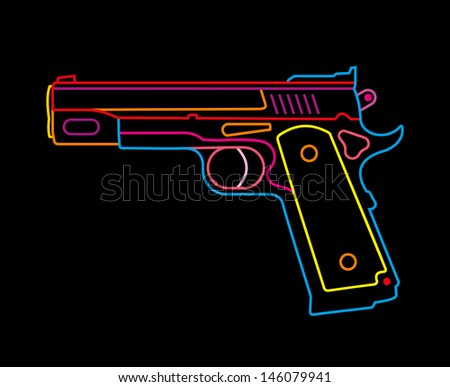 Modern Pistol - isolated vector icon on black background. Multicolor neon sign.