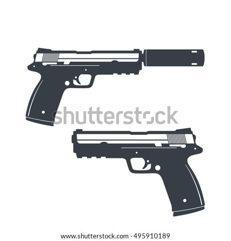 modern pistol with silencer
