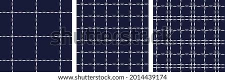 Modern plaid fabric design tartan pattern minimal abstract doodle geo texture. Textile swatch, ladies dress, man shirt all over print block. Stockfoto ©
