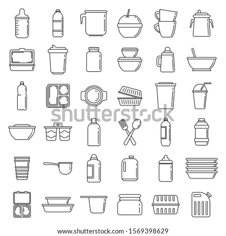 Modern plastic tableware icons set. Outline set of modern plastic tableware vector icons for web design isolated on white background