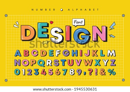 Modern playful alphabet letter and number set. Bright, vivid multicolor funky font or typography. Vector bold font for poster, flyer, book cover, greeting card, product packaging, graphic print, etc. Stock photo ©