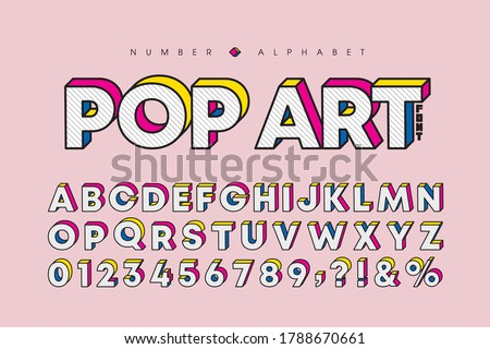 Modern pop art 3 dimensional letters and number set. Stylish bold font or typeface for headline, title, poster, web design, brochure, layout or graphic print. Flat vector 3D alphabet & number. Foto d'archivio ©