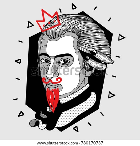 Modern portrait of composer and musician. T-Shirt Design & Printing, clothes, bags, posters, invitations, cards, leaflets etc. Vector illustration hand drawn. Wolfgang Amadeus Mozart