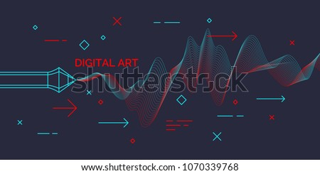 Modern poster Digital art. Abstract shapes and dynamic waves on dark background. Vector illustration.