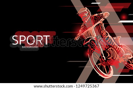 Modern poster for sports. motor cross banner vector. digital style. extreme sport background design.