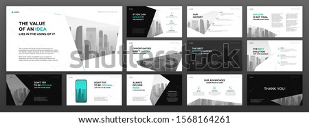 Modern powerpoint presentation templates pack for business and construction with cityscape vector illustration on background. Brochure design, annual report, social media banner, leaflet.