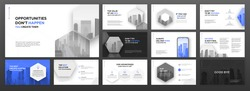 Modern powerpoint presentation templates set for business and construction. Use for brochure design, keynote template, landing page, annual report, company profile, portfolio, social media banner.