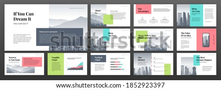 Modern powerpoint presentation templates set. Use for modern keynote presentation background, brochure design, website slider, landing page, annual report, company profile, social media banner.