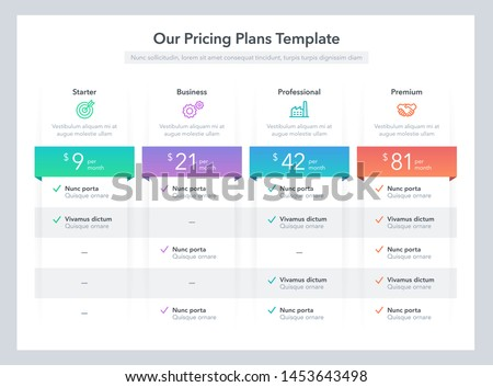 Modern pricing comparison table with various subscription plans. Flat infographic design template for website or presentation. Foto stock ©