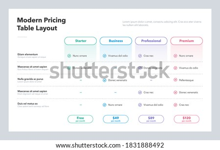Modern pricing table layout with four subscription plans. Flat infographic design template for website or presentation.