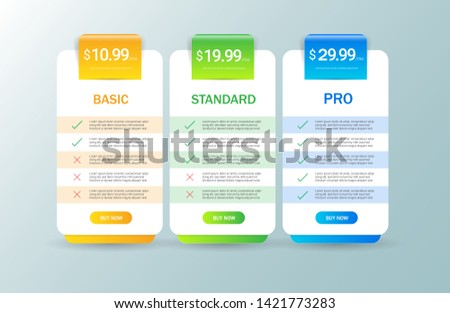 Modern pricing table, plan template . Price list collection for applications or websites. vector illustration.