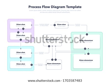 Modern Process Flow Diagram layout template. Flat design, easy to use for your website or presentation. Foto stock ©
