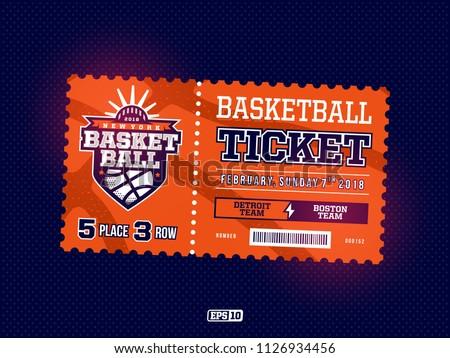 Modern professional design of basketball tickets in orange theme.