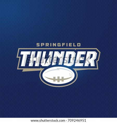 Modern professional football thunder team logo template design