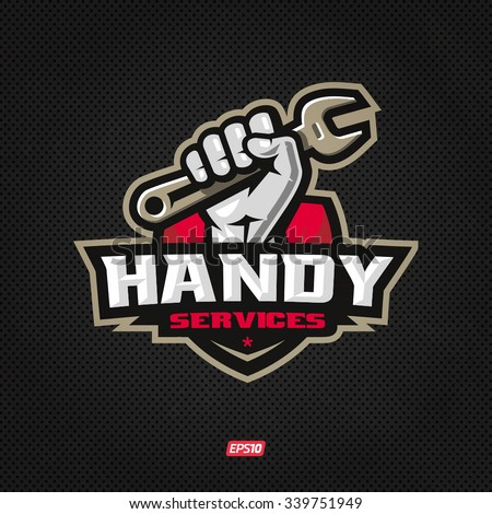 Modern professional handy services logo with hand holding wrench