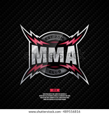 Modern professional logo design for a MMA club. Mixed martial art sign.