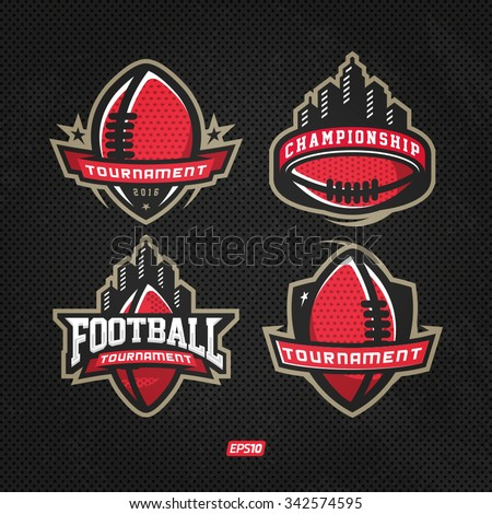 Modern professional logo set for american football game events