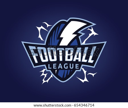 Modern Professional Sports Badge Logo - American Football League Thunder