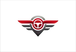 Modern professional wings and pin template logo design. This logo perfect for automotive business concept.