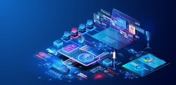 Modern Programming, testing cross platform code. Online devices upload, download information, data in database on cloud services on blue futuristic background. 5G network wireless with High speed