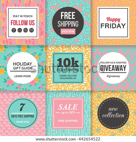 Modern promotion banners template for social media and mobile apps. Creative promotion  banners with hand drawing seamless pattern design.