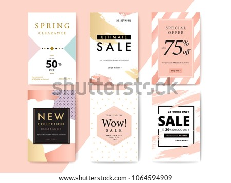 Modern promotion cell phone web banner for social media mobile apps. Elegant sale and discount promo backgrounds with abstract pattern. Email ad newsletter layouts.
