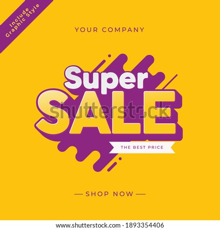 Modern promotion social media banner for mobile apps. Social media banner template, voucher, discount, season sale. super sale. purple and yellow vector