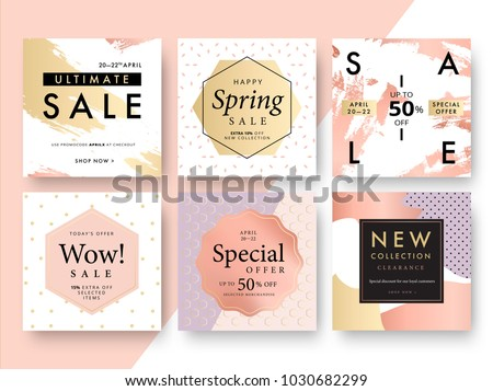 Modern promotion square web banner for social media mobile apps. Elegant sale and discount promo backgrounds with abstract pattern. Email ad newsletter layouts. - Shutterstock ID 1030682299