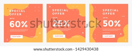 Modern promotion square web banner for social media mobile apps. Elegant sale and discount promo backgrounds with abstract pattern. Email ad newsletter layouts