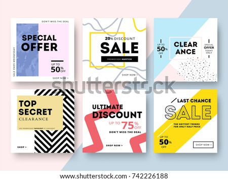 Modern promotion square web banner for social media mobile apps. Elegant sale and discount promo backgrounds with abstract pattern. Email ad newsletter layouts. - Shutterstock ID 742226188