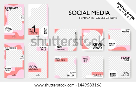 Modern promotion square web banner for social media mobile apps. Special offer layout frame for story and poster. Editable mockup for mobile apps with  abstract shape. Vector illustration #1449583166