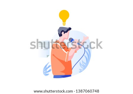 Modern Public Speaking People Concept Vector Illustration, Suitable for landing page, ui, web, mobile app intro card, editorial print, flyer, and banner