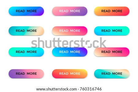 Modern read more color vector buttons isolated on white background. Read more arrow web button banner for website illustration. #760316746