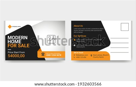 Modern Real estate business post card template.